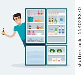 man with fridge. open... | Shutterstock .eps vector #554028370