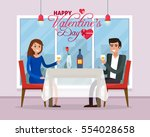happy valentines day. couple on ... | Shutterstock .eps vector #554028658