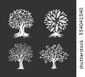 beautiful oak trees silhouette... | Shutterstock .eps vector #554041540