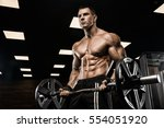 handsome man with big muscles ... | Shutterstock . vector #554051920