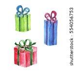 watercolor presents. | Shutterstock . vector #554056753