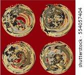 vector set koi and butterflies...   Shutterstock .eps vector #554057404