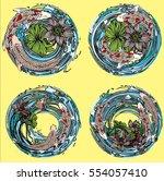 vector set koi and butterflies... | Shutterstock .eps vector #554057410