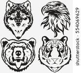 tiger eagle wolf bear logo... | Shutterstock .eps vector #554069629