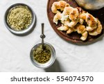 flat lay of yerba mate tea in a ... | Shutterstock . vector #554074570