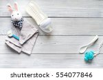 Stock photo preparation of mixture baby feeding on wooden background top view 554077846