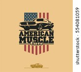 american muscle cars label ... | Shutterstock .eps vector #554081059