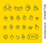 hand sign line icon vector... | Shutterstock .eps vector #554087728