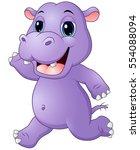 Stock vector vector illustration of cartoon hippo running 554088094