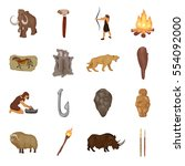 stone age set icons in cartoon... | Shutterstock .eps vector #554092000