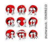 couple in love kissing ... | Shutterstock .eps vector #554098210