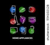hand drawn home appliances  ... | Shutterstock .eps vector #554102128