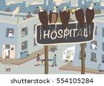 illustration of a flock of... | Shutterstock .eps vector #554105284