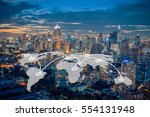 world map connection with... | Shutterstock . vector #554131948