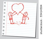 scribble kids holding hearts | Shutterstock .eps vector #55414504