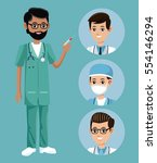 bearded nurse male syringe staff | Shutterstock .eps vector #554146294