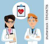 two doctors stethoscope... | Shutterstock .eps vector #554146756
