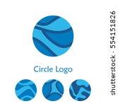 blue circle logo set. stock... | Shutterstock . vector #554151826