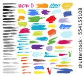 brush strokes color painted... | Shutterstock .eps vector #554155108