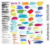 color brush stroke vector set | Shutterstock .eps vector #554155108