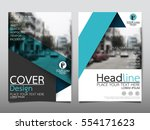 blue flyer cover business... | Shutterstock .eps vector #554171623