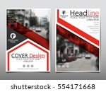 red flyer cover business... | Shutterstock .eps vector #554171668
