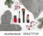 winter accessories collage with ... | Shutterstock . vector #554177719