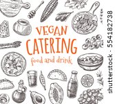 vegan catering card. hand drawn ...
