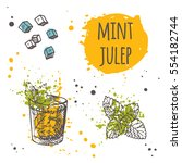 mint julep cocktail on the... | Shutterstock .eps vector #554182744