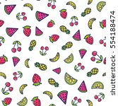 doodles cute seamless pattern.... | Shutterstock .eps vector #554188474