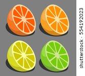 vector set of citrus fruits   Shutterstock .eps vector #554192023