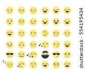 smiley icons vector set. happy  ... | Shutterstock .eps vector #554195434