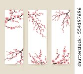set of banners with blossom... | Shutterstock .eps vector #554197696