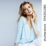 young pretty blond woman... | Shutterstock . vector #554201380