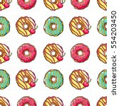 colorful donuts dessert sweet... | Shutterstock .eps vector #554203450