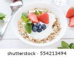 morning healthy breakfast with... | Shutterstock . vector #554213494
