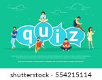 quiz flat concept illustration... | Shutterstock .eps vector #554215114