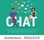 chat concept illustration of... | Shutterstock .eps vector #554215174