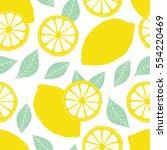 fresh lemons background  hand... | Shutterstock .eps vector #554220469