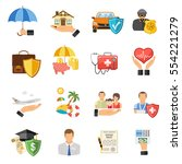 insurance flat icons set for... | Shutterstock . vector #554221279