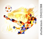 silhouette soccer player and... | Shutterstock . vector #554221588