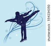 couple of figure skaters... | Shutterstock .eps vector #554234350