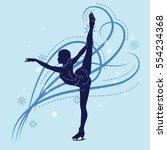 silhouette of the figure skater ... | Shutterstock .eps vector #554234368