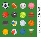 set of sport balls isolated... | Shutterstock .eps vector #554240716