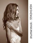 beautiful woman face. perfect... | Shutterstock . vector #554241454