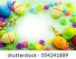 easter colorful eggs  frame on... | Shutterstock . vector #554241889