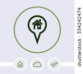 map pointer with house vector... | Shutterstock .eps vector #554242474