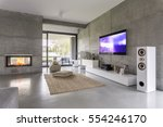 tv living room with window ... | Shutterstock . vector #554246170
