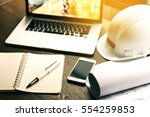laptop with construction tools...   Shutterstock . vector #554259853