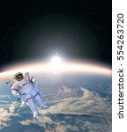 astronaut against earth in the...   Shutterstock . vector #554263720